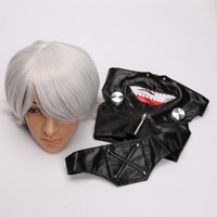 Wholesale New Hot Tokyo Ghoul Ken Kaneki Cosplay Wig Synthetic Hair Party props Wigs Costume And Adjustable Zipper Leather Mask