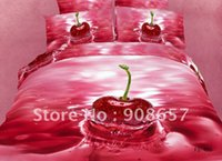 beautiful baby quilts - new red beautiful cherry printing cotton bedding sets duvet quilt covers sets for bedroom Queen full comforter home textile