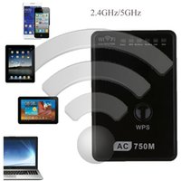 2.4G / 5 GHz Dual-Band Wireless 750Mbps Mini Wifi Repetidor 802.11a / g / n / ac Router UE EEUU Reino Unido Networking Adapter Range Expander Booster C2660