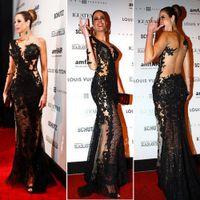 Wholesale Luciana Gimenez Black sexy Side Split celebrity dresses long sleeve one shoulder floor length lace tulle back evening prom gowns BO3172