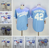 Wholesale 2016 baseball jerseys Los Angeles Dodgers Jackie Robinson Throwback Jerseys Embroidery Stitched Shirt Baseball Jersey Gray