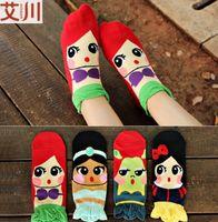 cartoon slippers - 2016 new three dimensional Frozen Mermaid printing socks women socks Cotton Anna Eliza Sock Slippers C450