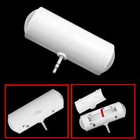Wholesale Mini Portable Stereo Speaker small stereo fit for iPod iPhone MP3 MP4 White ABS mm connector