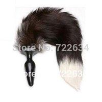 Cheap 2015 Sex anal plug genuine fox fur tail vibration sex toys Anal provocative alternative props appliances cats