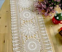 cotton table runner - Handmade Crochet Rectangle Lace crocheted Tablecloths European Cotton Knit Openwork Linen Cupboard Cover Coffee Table runner