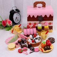 Wholesale children Pretend Play and Dress up Kitchen toys set Chocolate cake Group food cutting play Wooden toys