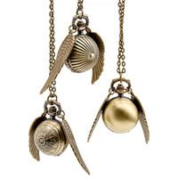 Wholesale Vine Charm Harry Potter Snitch Wings Pocket Watch Spider Ball Quartz Necklace Watch Men Women Fashion Jewelry W92