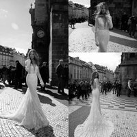 belt with pearls - 2016 Sexy Winter Spring Berta Lace Wedding Dresses Deep V neck Sheer Long Sleeves Chapel Train Mermaid Bridal Gowns with Bow Belt