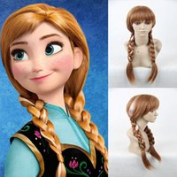 Wholesale Synthetic Cosplay Hair Long Curly Hair Wigs Snow Queen Princess Anna Cosplay Wig Anime Cosplay Long Wigs