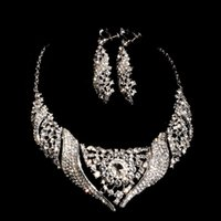 Wholesale Luxury Diamond Crystal Jewelry Necklace Earrings Sets Party Prom Evening Wedding Jewelry Sets Bridal Accessories In Stock