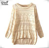 Wholesale Women s Tops Hot Sale Thin Pullover Brand Beige Hollow Geometric Pattern Eyelet Embellished Asymmetric Knit Jumper Sweater