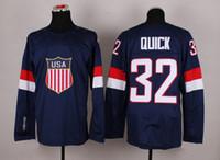 Wholesale 2014 Sochi Olympic Team USA Hockey Jersey Jonathan Quick Navy Blue Ice Hockey Jerseys