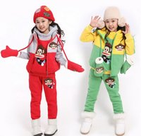 Wholesale Unisex Clothing Set Winter Woolen Outfits Kids Long Sleeve Monkey Hoodies Long Trousers Waistcoat Set Pink Green Red Blue M2470