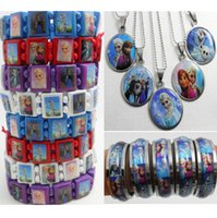 Wholesale 22 in Frozen Jewerly Set wood bracelets SS pendant necklaces SS rings Party Favor bag