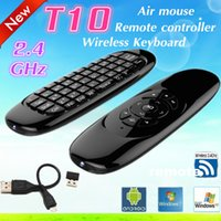 Wholesale 1pcs GHz T10 C120 Wireless keyboard gyroscope remote control Sensor MINI Fly Air Mouse keyboard mouse For Android TV Box Mini PC