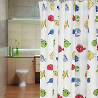 Wholesale High quality cute cartoon fish design PEVA Shower Curtain Bathroom Waterproof Curtain cm Ring Hooks