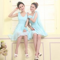 Wholesale 2014 new short section of the bride and bridesmaids dresses sister group wedding dress evening dress bridesmaid dress bridesmaid dress