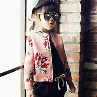 venda por atacado roupas coreano-Coreano meninas Floral Impresso curtas jaquetas casacos crianças de flor Outono Brasão de impressão Casacos Meninas Roupa Moda manga comprida encabeça