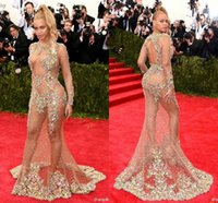 beyonce dresses - 2015 Beyonce Evening Dresses Sexy Red Carpet Dresses Crew Full Sleeve Sheer with Shining Sequins Beads Backless Sweep Train Prom Dresses