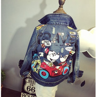 big blue mice - 5pcs Girls Leisure Washed Denim Jacket Mickey Mouse Children Kids Big Flower Printing Loose Jackets Coat Outwear Cloth Blue KB236