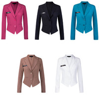 women business suits - Blue Blaser Female Notched Collar Slim Short Long Sleeve Women s Business Suits Blazers For Women Winter Casual Coats Jackets