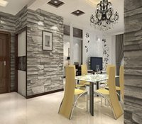 Cheap Chinese Style Dining room Wallpaper Modern 3D Stone Brick Design Background Vinyl Wall Paper For Kitchen Livingroom Wallcovering
