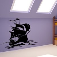 Cheap Hot Sale Anime Wallpaper Baby Bedroom Vinyl Art Wall Sticker Pirate Ship DIY Removable Home Decor