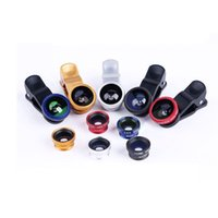 Wholesale 3 In Clip on Fish Eye Macro Wide Angle Kit Mobile Phone Camera Lens for iPhone Plus Samsung S5 S6