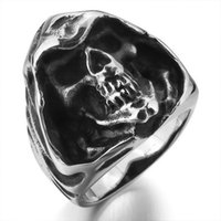 Wholesale Men s L Large Stainless Steel Ring Silver Black Death Grim Reaper Skull Punk Rock