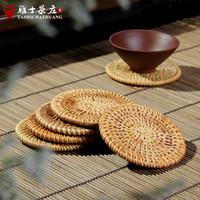 Wholesale Kung Fu tea ceremony accessories hand made rattan round tea cup mat natural environment mat bowls mat insulation