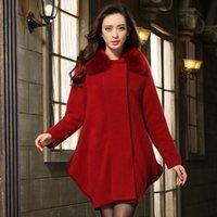 Wholesale 2014 Winter New Style Color Choice Women s Fox Fur Collar Mink Cashmere Coat Fashion High Quality Cashmere Coat L