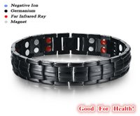 Wholesale In stock Titanium Bracelet with Magnet Stone or Germanium White Ion and FIR stone in far infrared Pure Titanium magnetic bracelet