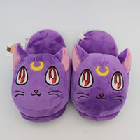 Wholesale High Quality Anime Sailor Moon Soft Plush Toys Cartoon Slipper Purple Luna Cat Slipper Cartoon Slipper For Adult