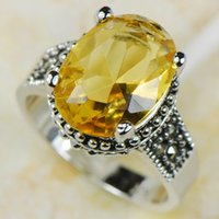Cheap Wholesale & Retail Brand New LEMON CITRINE 925 Sterling Silver Women Ring Free Shipping R536 USA size 6 7 8 9 10