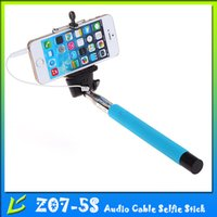 Wholesale Z07 S Wired Selfie Stick Monopod Extendable Self Portrait Selfie Handheld Stick for iPhone plus s s Samsung Andriod Smart Phone