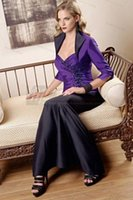 mother of the bride sequin dresses - 2015 mother of the bride pant suit sweetheart stain sequins Purple Appliques with jacket Sheath mermaid dresses for wedding party dress