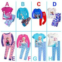 Cheap 2014 Baby Girls Frozen Pajamas Kids Anna Elsa Olaf Princess Pajamas Children Summer And Autumn Clothes New Cotton 2Piece Set 707005