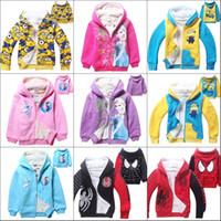 Wholesale Free DHL Children Boys Girls Winter Coral Fleece Minions Spider man Frozen Hoodies Sweatshirts Cartoon Coat Jackets Outerwear For Kids