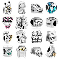 animal metal plates - Fits Pandora Bracelets Mix Theme Silver Big Hole Beads Crystal Loose Beads Charms For Diy European Necklace Jewelry Accessories