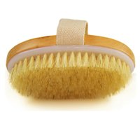 Wholesale Hot Sale fashiong Dry Skin Body Brush Natural Bristle Brush Soft Handle Pouch Brush SPA Brush
