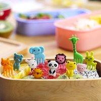 Wholesale 10pc set Animal Zoom Elephant Giraffe Fruit Fork For Children Bento Lunch Fruit Plate Decoration Forks