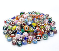 Wholesale 50PCS MULTICOLOR MURANO GLASS SILVER PLATED SINGLE CORE LAMPWORK GLASS EUROPEAN CHARM BEADS FITS CHARM BRACELET NECKLACE
