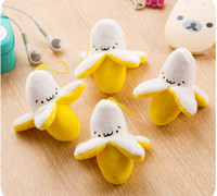 Wholesale small backpack banana phone ornaments lovely smiling face pendant plush toys