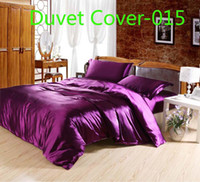 Wholesale Luxury purple satin silk Duvet Cover Quilt Cover bedding Home Textile Twin Full Queen King size Gold silver purple rosy red