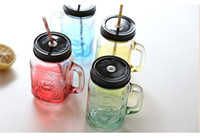 beer with lemon - 2015 Nice ml vintage colorful glass beer cup coffee glass cup handle lemon cup with lid Brief coffe Mug