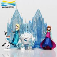 Wholesale Xmas Snow Princess Anna Elsa Mini Castle Play Set with Olaf Marshmallow figures plus ice palace and throne toys Elsa Action Figures Set Toys