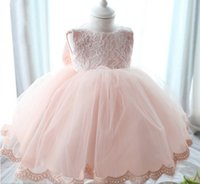 Wholesale Actual Images Elegant Girls Pink Sleeveless tutu Dress Princess Flower Girls Dress Beautiful Party Pageant Dress with Big Bow