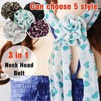 Wholesale 3in1 Silk Neck Head Scarf Wrap Belt w Flower Clip A010