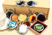 Wholesale folding makeup mirror compact mirror with crystal metal pocket mirror Box gift cosmetic mirror DHL Free Ship Support Logo Print E459J