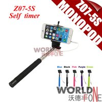 Wholesale Z07 S Extendable Selfie Stick Extendable Monopod Tripod With Button Handheld Wired Cable Take Pole for iPhone IOS Android